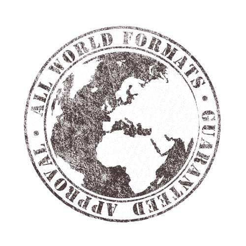Stamp-like illustration of planet earth, surrounded by the words 'All World Formats. Guaranteed Approval.'