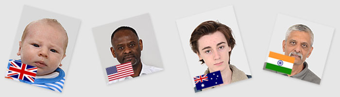 Passport photo examples (left to right) for: The United Kingdom, The United States of America, Australia and India